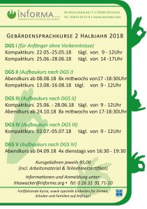 Neue Gebärdensprachkurse 2 Halbjahr 2018