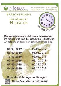 neue Sprechstundenzeiten für 2019