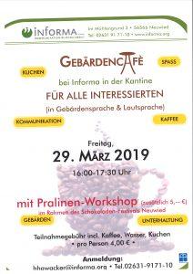 Gebärden-Cafe bei iNfORMA am 29.03.2019
