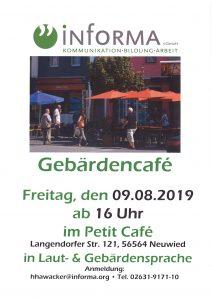 Nächstes Gebärdencafe am 09. August 2019 im Petit Cafe in der Neuwieder Fußgängerzone