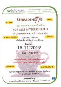 nächstes Gebärdencafe am 15.11.2019